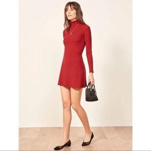 Reformation Red Maya Long Sleeve Mini Dress